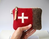 Swiss Army  toiletry bag - Wool bag -Utility pouch -Unique-red Stripe -Swiss cross.Industrial military-Great  gift for Men