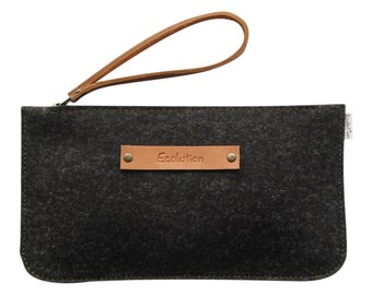 Minimalist Wool felt clutch.iPhone travel wallet.Eco friendly.Durable.Handmade in Switzerland. Charcoal grey. Hand tooled Leather.Great gift