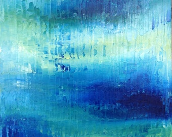 Sapphire Blue. Ocean Art Abstract Blue Abstract Painting, Abstract Ocean Art - Sapphire Blue, Turquiose, Soft Green - 16x20 Stretched Canvas