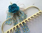 Rake head rack hook yellow vintage farm shabby turquoise teal bow