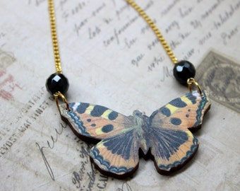 Black & Orange Butterfly Necklace, Wood Pendant, Illustration Jewelry