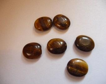 Bead, Designer Quality, Tigereye, Natural, Gemstone, 14x12mm, Flat Oval, B Grade, Mohs hardness 7, Pkg Of 10 beads.