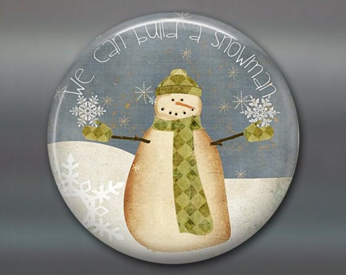 folk art fridge magnet, prim snowman magnet, primitive kitchen decor, holiday decoration, holiday magnet  MA-1381