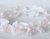 Pink White Flower Girl Wreath Silk Flowers Pearls Child Halo Bridal Wedding Communion Headpiece Hair Accessory Handmade