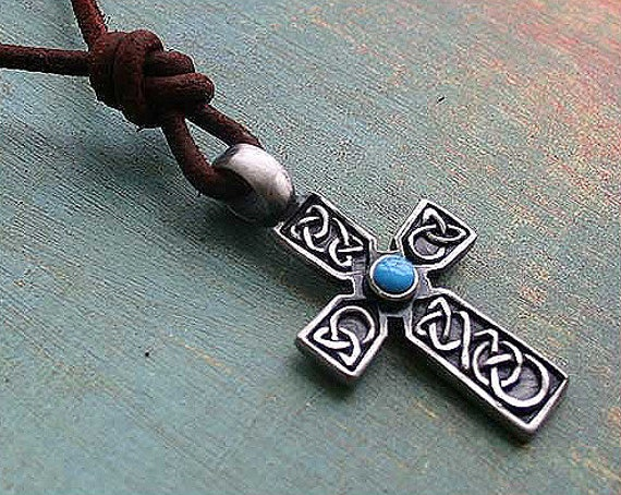 Leather Necklace With Celtic Cross And Turquoise Stone