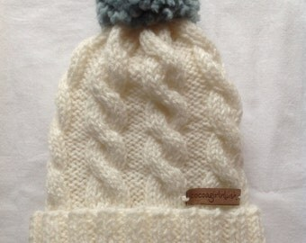Cable Roll and Puff -a handknit beanie