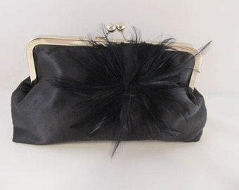 Black Satin Clutch-Clutch-Purse-Handbag-Kisslock-8 inch