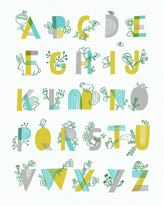 Items Similar To Spring Garden Alphabet By Sarah Walsh On Etsy