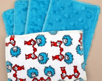Kids Reusable Swipers - Dr. Seuss Thing 1 & 2 Dimple Minky Hanky (set of 5)