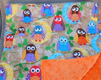 "Baby Blanket - Colorful Owls on Tan Flannel with Bright Orange Dimple Minky, 29"" X 35"""