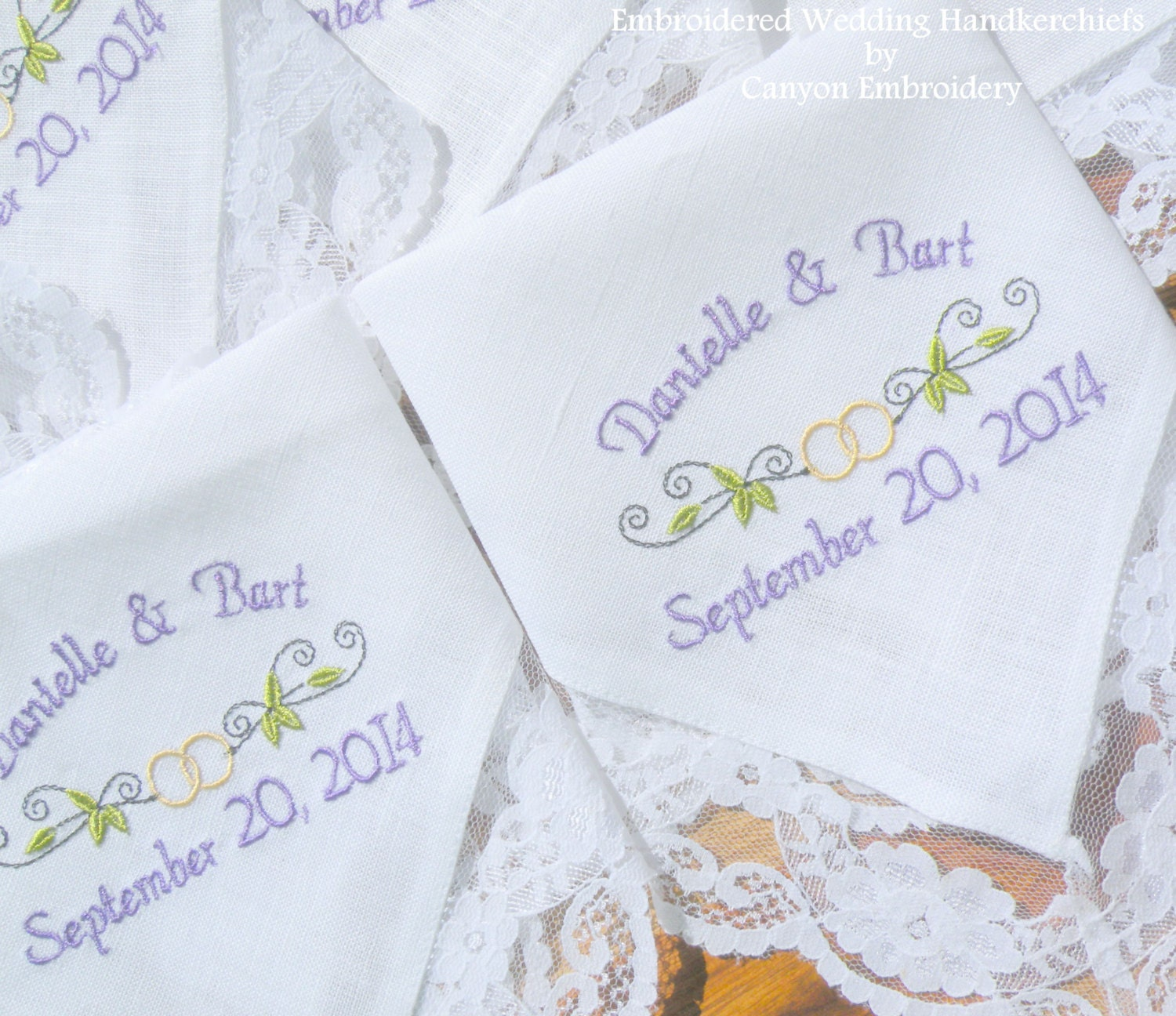 Embroidered wedding handkerchiefs lacy ring