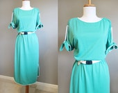 Knit Dress Vintage Teal Tshirt White Piping 1980s Belted Medium