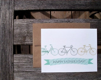 Father's Day Card - Happy Father's Day Bikes Bicycles, Dad Father Son Bike Enthusiasts, Teal Blue Grey Chartreuse Green Vintage Bikes