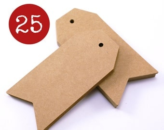 Chevron shipping hang tags - 25 Arrow Point brown KRAFT parcel tags, gift tags 1 3/4 x 3 3/4 -gift wrapping, stamping, wedding