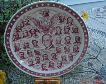 Our Presidential Gallery  no.2 Display Plate - Made in the U.S.A. - Vernon Kilns 1953 - Like New