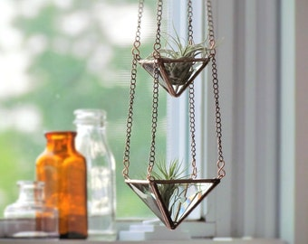 Air Plant Holder Mini 3 Tiered Faceted Stained Glass Hanging Terrarium Clear Copper