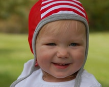 Baby pilot hat, hearing aid hat with mesh, baby cap, red baby hat, toddler hat, cotton knit hat, hat with ties, emmifaye hat, fall hat, USA