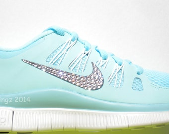 LAST ONE!!  Nike Free 5.0+ Shoes - Glacier Ice / Night Factor / Summit White - Bedazzled with 100% Swarovski Elements Crystals