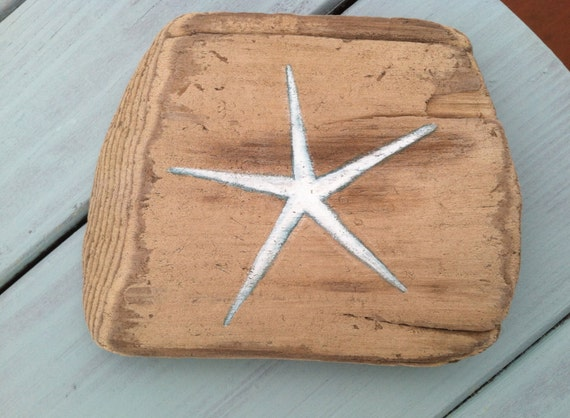 Painted Reclaimed Driftwood Wall Art With Starfish