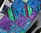 Handmade Vibrant Flower Garden Baby Rag Quilt Baby Blanket blue purple green ready to ship