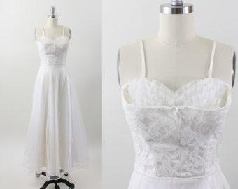 1950s dress - 50s tulle lace party dress - shelf bust dress - wedding dress - xxs xs