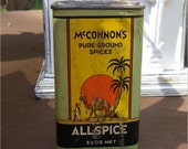 "MCCONNON'S SPICE CAN, 3 1/4"" oz. Allspice, Middle East Design with Camel, Vintage Kitchen Display"