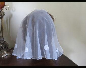 White as a snow - lace mantilla scarf -   D shape veil - scalloped edge - drapes down nice
