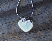 Wedding necklace, heart necklace, silver heart, Valentines gift, bridesmaid gift, I love you, I love lucy, pillow heart