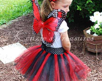 4- Piece Monarch Butterfly Tutu Set - Different Colors Available - Size 6 months to Chid Size 6