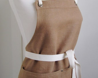 Full  Apron Woman European linen apron Brown linen work apron kitchen apron custom apron Ginger linen