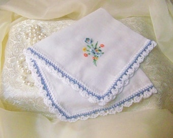 Blue Handkerchief, Hanky, Hankie, Something Blue, Bridal, Embroidered, Personalized, Monogrammed, Floral, Hand Crochet, Lace, Lacy