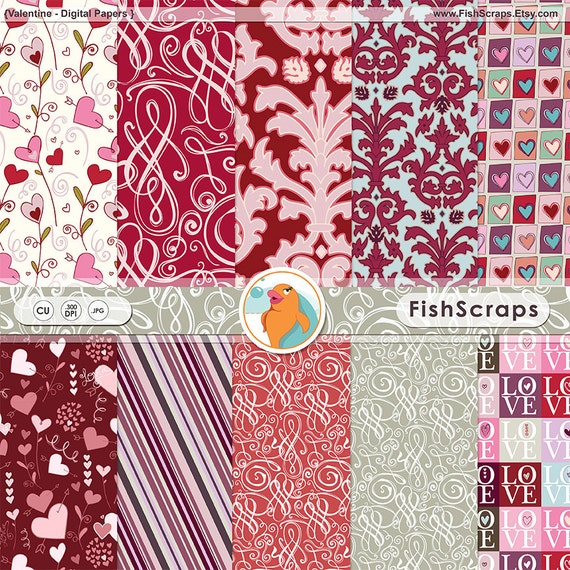 Valentine Digital Paper, Red & Pink Damask Papers, Valentine Romance Scrapbooking Backgrounds, Hearts Pattern Instant Download