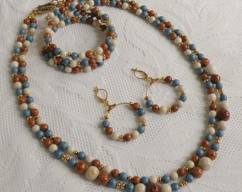 Brown, Columbia Blue and Natural Riverstone Necklace, Earring and Bracelet Set