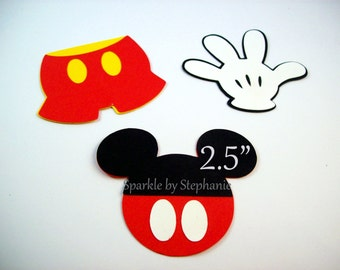 Mickey Mouse Die Cuts - Set of 12+ - Mickey Head with Buttons, Pants & Gloves - Set of 12+ - 2.5""