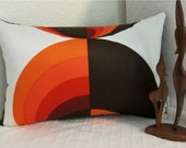 Danish Modern Pillows : Items similar to MCM Danish Modern Pillow Cover - 1960s Mod - Oranges, Cayenne, Paprika and Dk ...