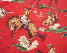 Retro Cowboys Barkcloth Pillow Cover - Red - Many Sizes Available
