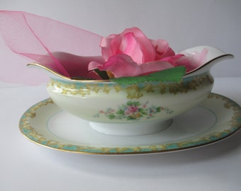 Vintage Noritake Adela Seafoam Green and Pink Floral Gravy Boat with Attached Underplate
