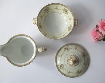 Vintage Meito China Vivian Pink Green Floral Cream and Sugar Set