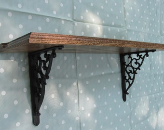 Oak Wood Shelf with Cast Iron Brackets