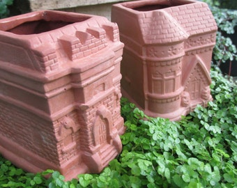 Set of Two,  Miniature, Architectural, Terra Cotta Planters for Succulents, Ferns or Mosses