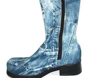 5 Dollars Off Sale Denim Print 90s Zip Up Heeled Boot