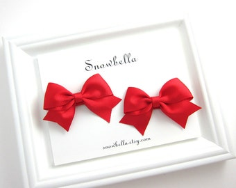 Red Hair Bow Clips Pigtail Pairs