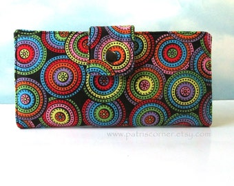 Handmade women's wallet circles and dots full of bright colors - ID clear pocket - Ready to ship