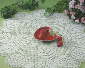 Crocheted Doily - Strawberries free shipping