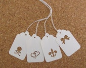 50 Punched White Gift Tags with Choice of Bakers Twine Wedding Gift Tags Shower Favor Tags Candy Buffet Bag Tags