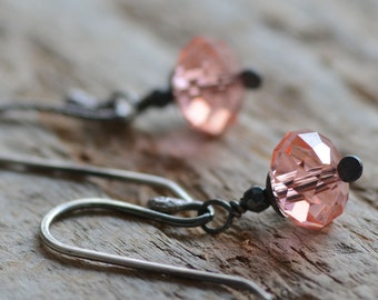 SALE Peach Crystal Earrings Peachy Rose Swarovski Crystal Jewelry Sterling Silver Earrings Hematite Gemstones Oxidized Petite Earrings