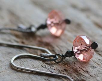 Peach Crystal Earrings Peachy Rose Swarovski Crystal Jewelry Sterling Silver Earrings Hematite Gemstones Oxidized Petite Earrings for Women