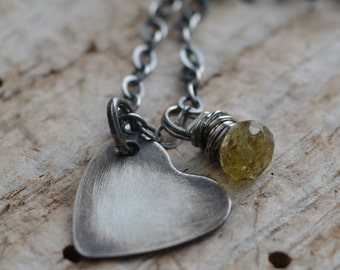 Heart Charm Necklace Sterling Silver Oxidized Jewelry Tourmaline Gemstones Golden Green October Birthstone Hand Forged Heart Necklace