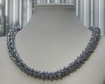 Silver Flower Kumihimo Necklace