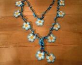 crochet flower necklace, blue white turquoise